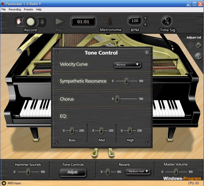 Pianissimo Virtual Grand Piano 1.0.12 + Crack + торрент
